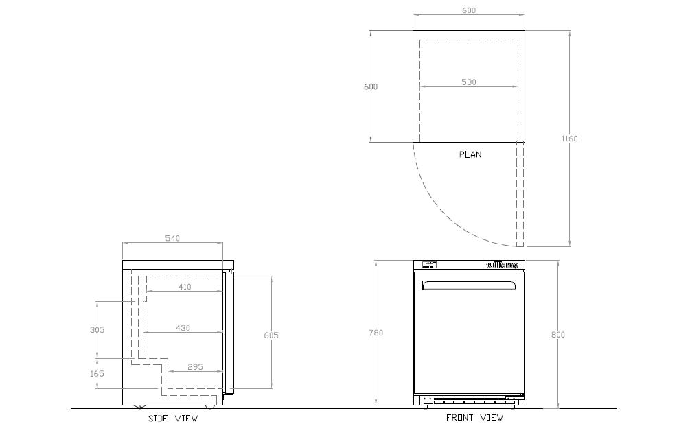 Charming HA135LP Amber Series Undercounter Refrigerator Dimension Diagram